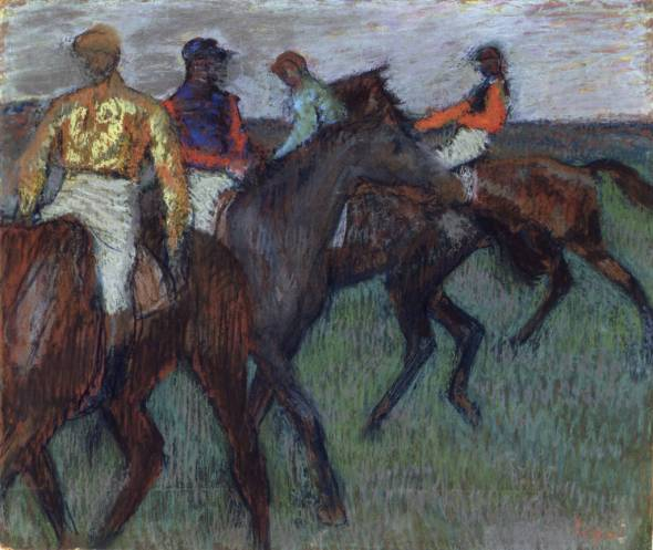 Edgar Degas (French, 1834-1917). Racehorses, ca. 1895-1899. Pastel on tracing paper, with strip added at bottom, laid down on cardboard. 21 1/4 x 24 3/4 in. (55. 8 x 64.8 cm). Purchased 1950. © National Gallery of Canada, Ottawa