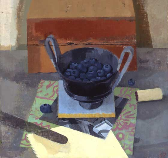 Susan Jane Walp, Bluekberries in Black Etruscan Cup with Xerox, Knife, Cork and Two Bricks, 2006