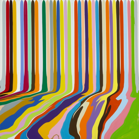 Ian Davenport, Puddle Painting Titanium White, 2009