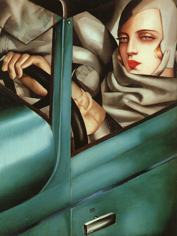 Tamara deLempicka, Self Portrait in the Green Bugatti, 1925 Private Collection