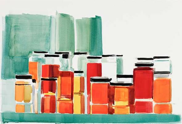 Bottles &Jars #9, watercolor on paper, 2012, 15 x 22 inches